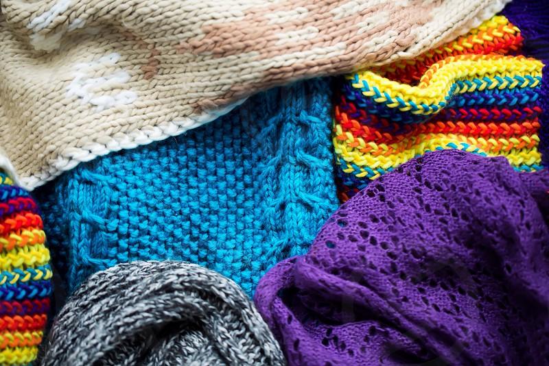 Knitting thread warm winter scarf cozy snow  photo