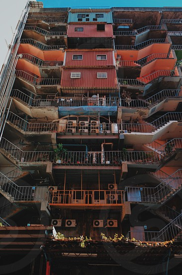 Apartment building Asia Taiwan colorful colors stair staircase stairs photo
