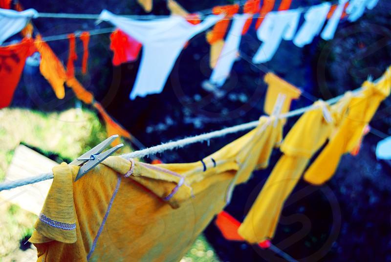 Clothesline t-shirt yellow white orange red photo