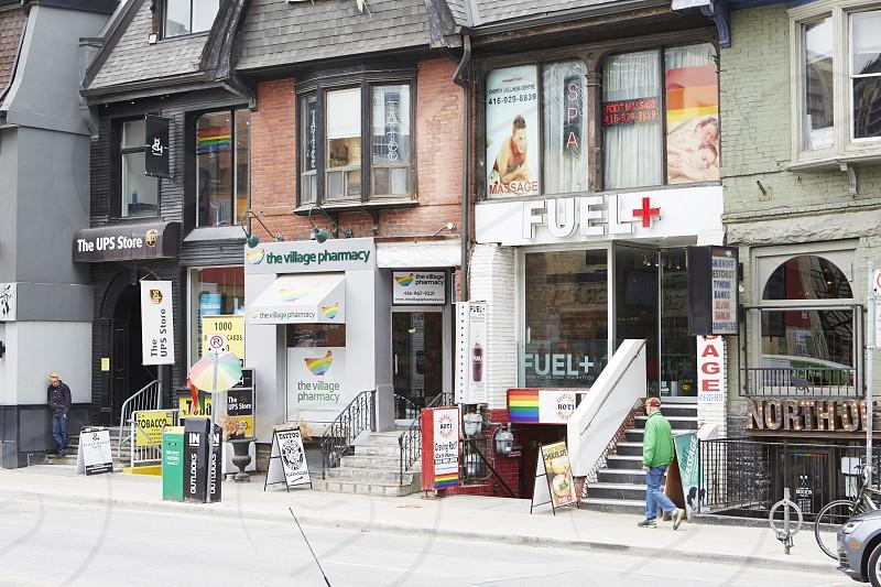 Pride colours in shops along Church Street Toronto  photo