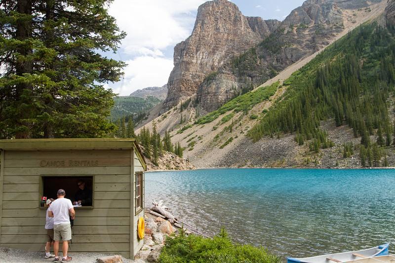 The canoe rental booth on Lake Moraine.  Banff Canada photo