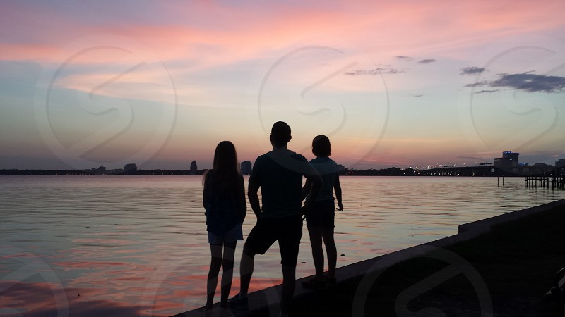 Sunset over St. Johns river Jacksonville Florida.  photo