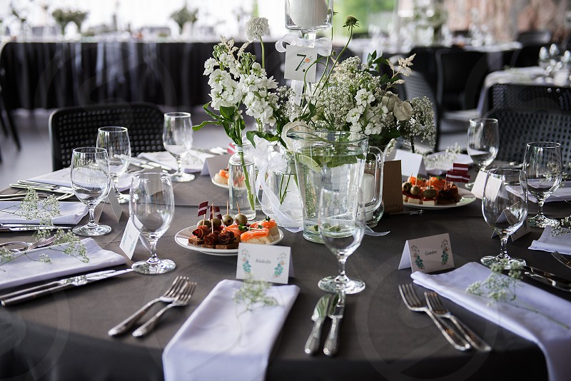 A very nicely decorated wedding table photo