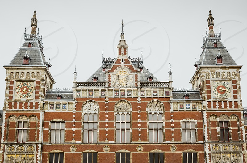 Amsterdam Centraal Station photographed frontally photo