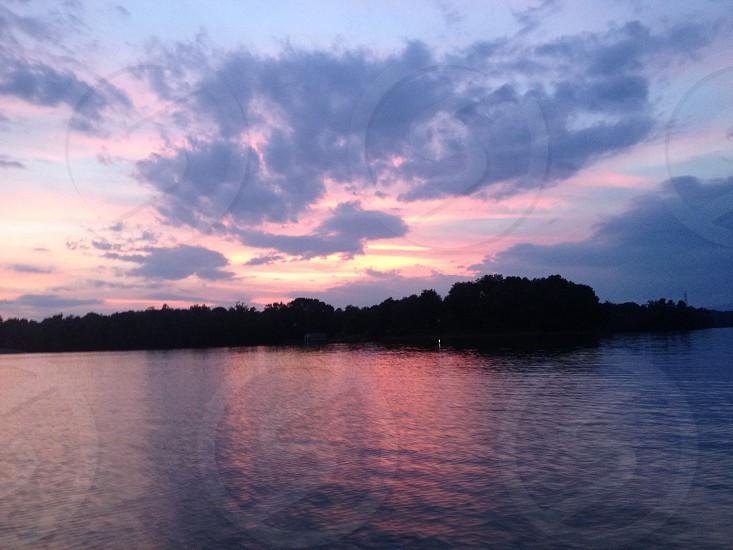 Lyman Lake SC. Sunset over water.  photo