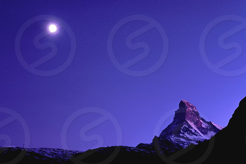 Zermatt Materhorn full moon film evening Swiss Alps  photo