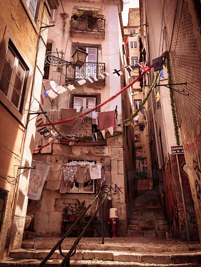 Lisbon Portugal alley side street urban stairs photo