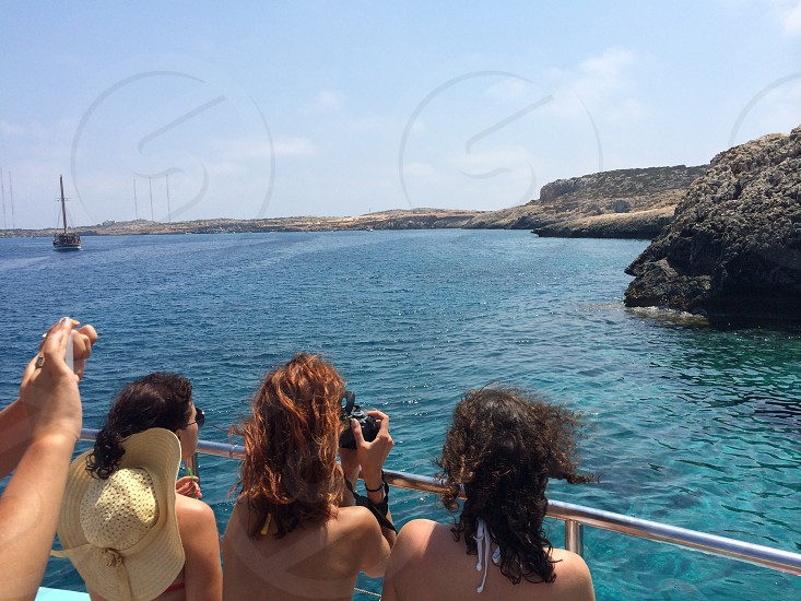 Travellerspeopletouristsboatseacyprusayia napamediterraneanpanoramamarinecoastsummership photo
