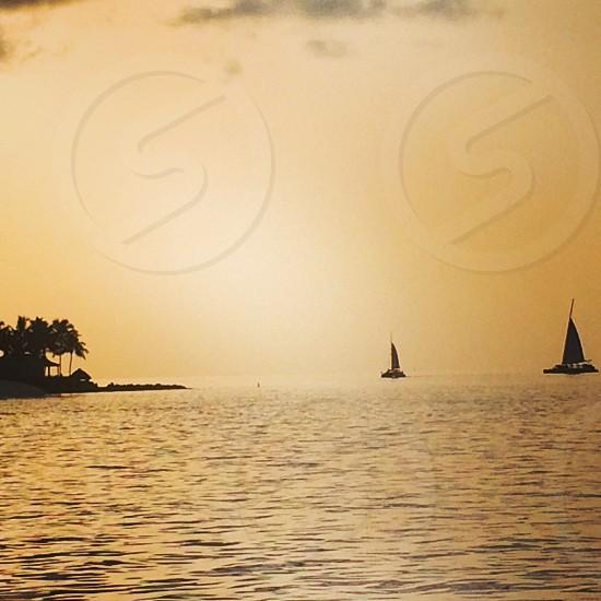 Boats at sea photo
