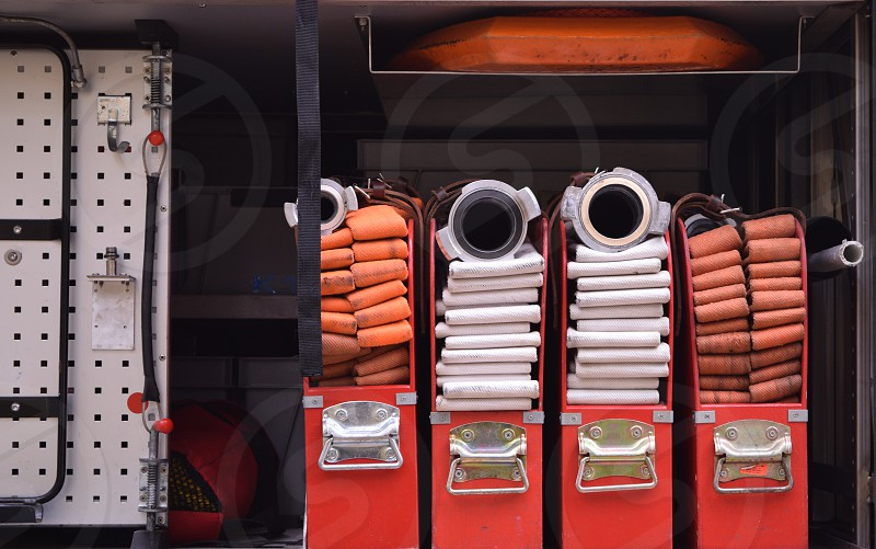Fire fighting vehicle with special equipment outdoors photo