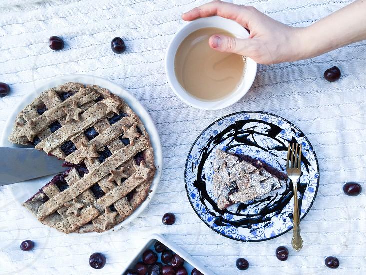 Seasonal food pie fruit coffee tea dairy photo