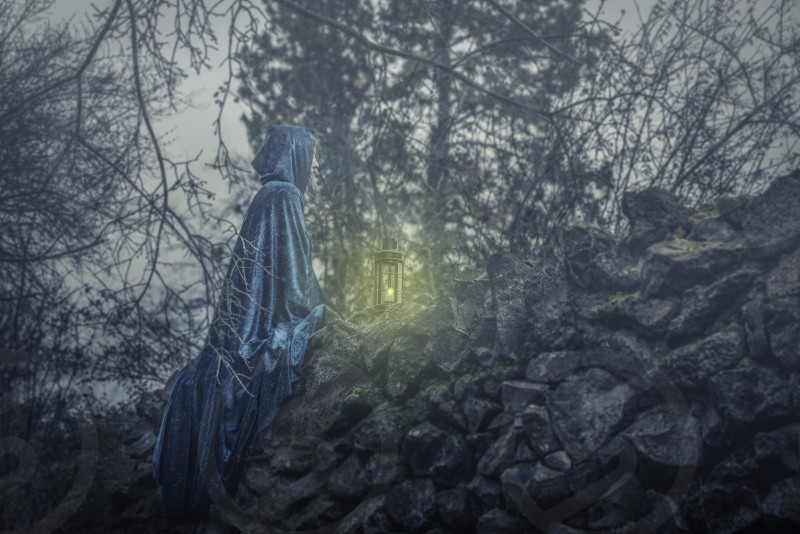 woman in blue robe sitting on grey rock wall next to green lantern lamp near bare trees photo