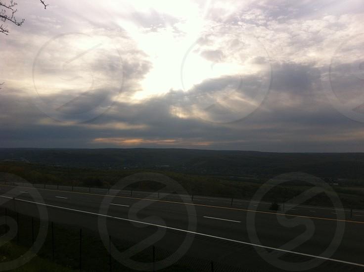 Sun Clouds Road Evening Sun set photo