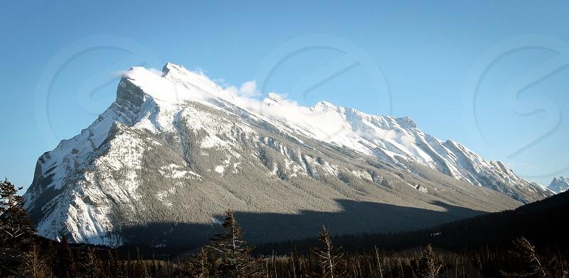 Banff mountains forest trees snow winter Alberta Canada travel explore roadtrip photo