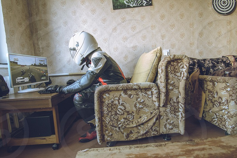 Me waiting for summer playing motogp 2014 full gear helmet leather game moto motorcycle bike biker funny creative photo