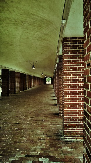 brick tunnel lamps classic path shadows photo