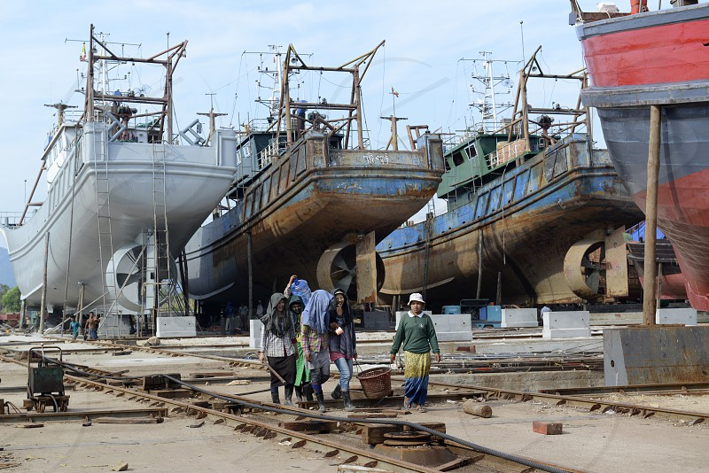 a Ship manufactur in the city of Myeik in the south in Myanmar in Southeastasia. photo