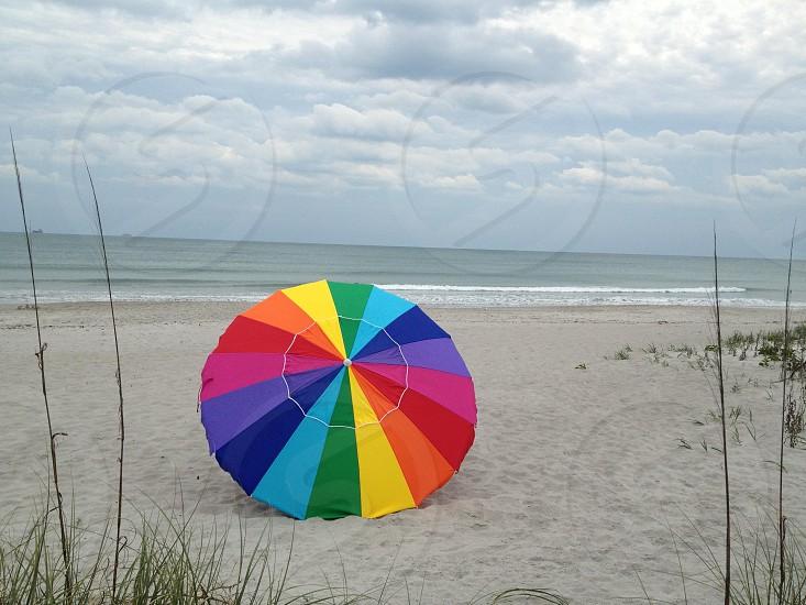 multi colored beach umbrella photo