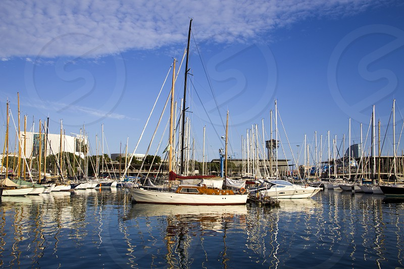 Yachts in the port of Barcelona in a summer sunny day. photo