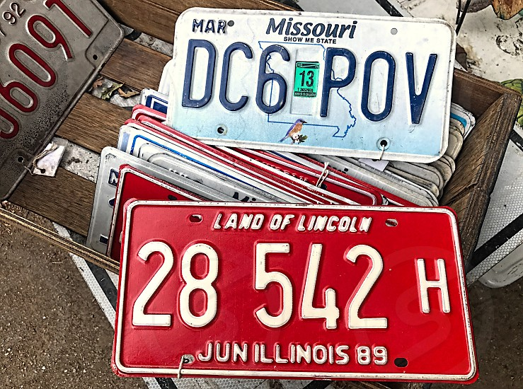 Close up of automobile license plate(s) photo