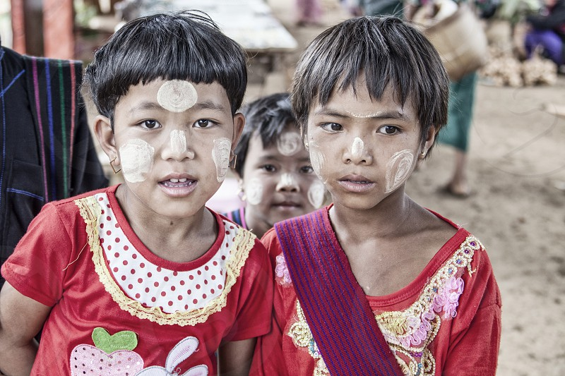 brothers twins children myanmar asia burma photo