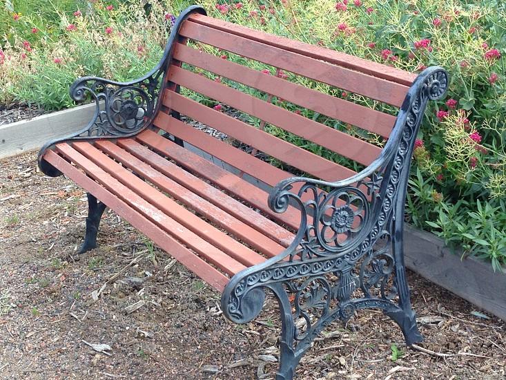 Beautiful iron work and wood bench. photo