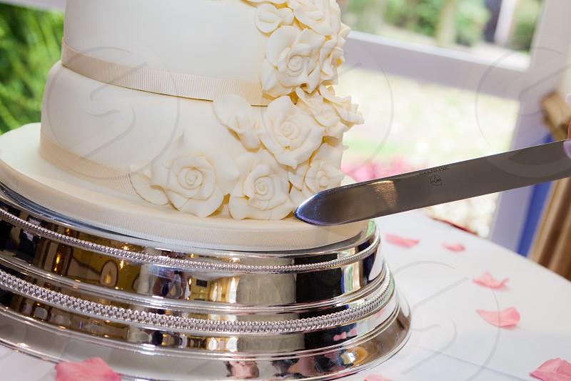 Wedding Cake cut photo