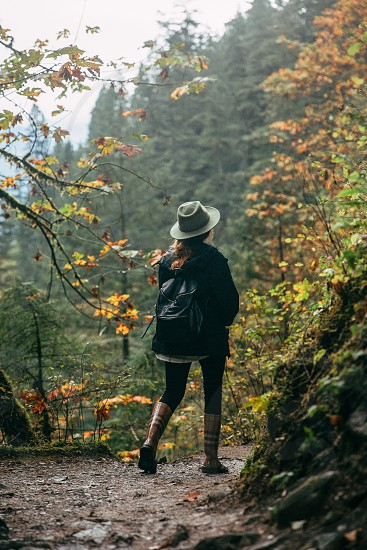 Steph Munguia hiking through the Colombia River Gorge.  photo