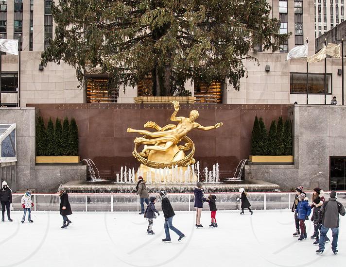 Rockefeller Center Ice Rink and Tree New York. photo