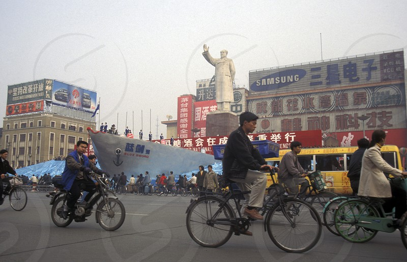 the Statue of Mao on economy fair in the city Square of Chengdu in the provinz Sichuan in centrall China. photo