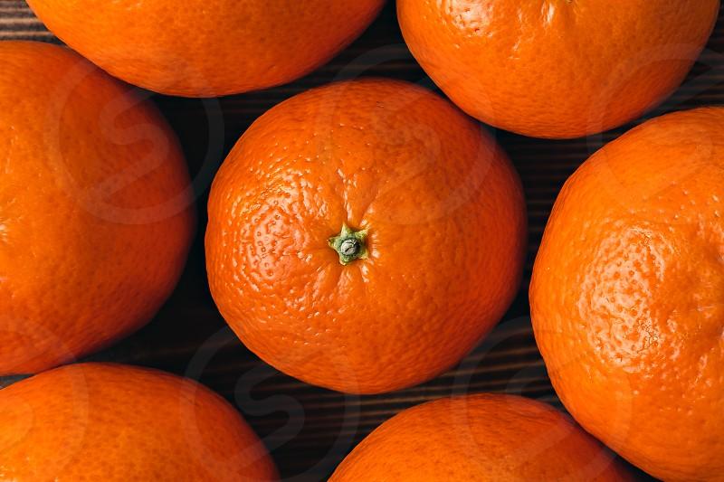 Mandarins flat lay close-up view photo