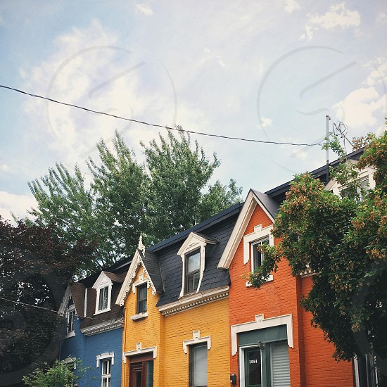 Urban shot of Montreal's iconic colorfull Plateau Mont-Royal houses photo