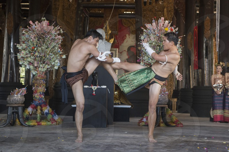 a Thai Box Muay Thai at the Baandam Museum in the village of Muang in the north of the city Chiang Rai in North Thailand. photo