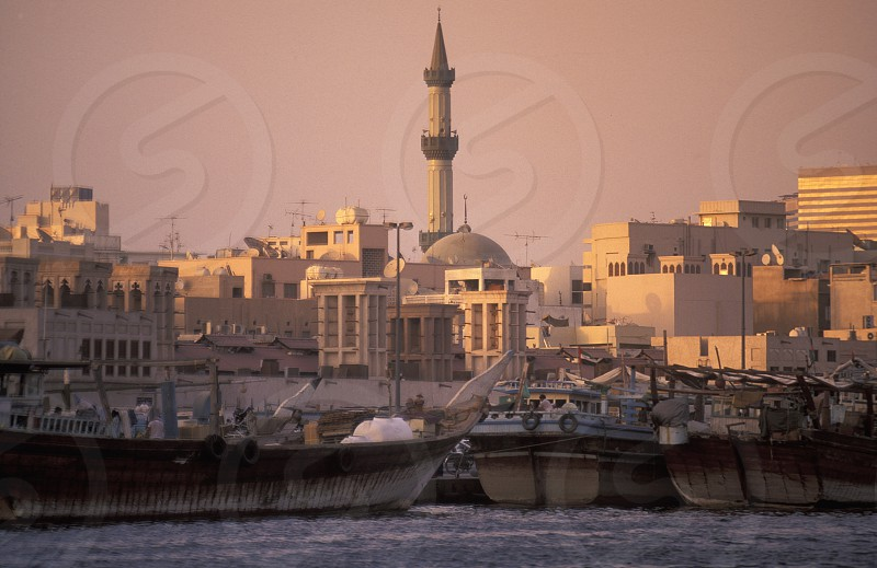 the old town in the city of Dubai in the Arab Emirates in the Gulf of Arabia. photo