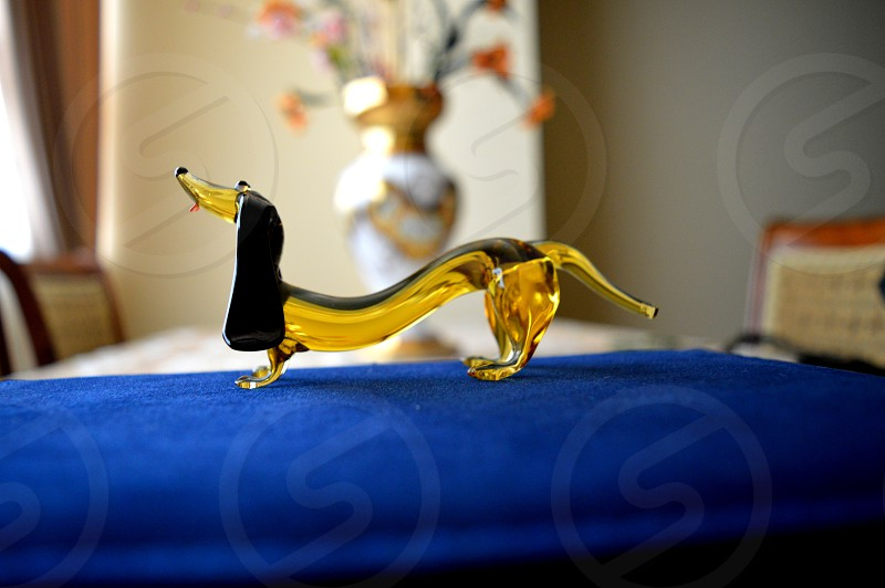 Beautiful glass figures or toys. dog at home photo