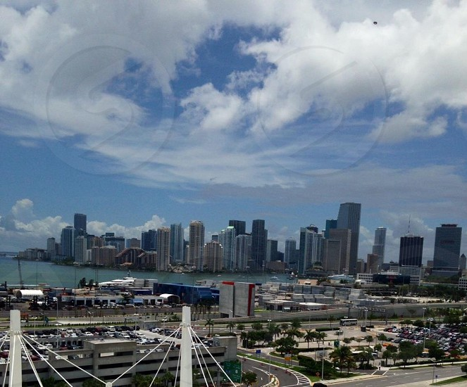 View of Miami from the port of Miami photo