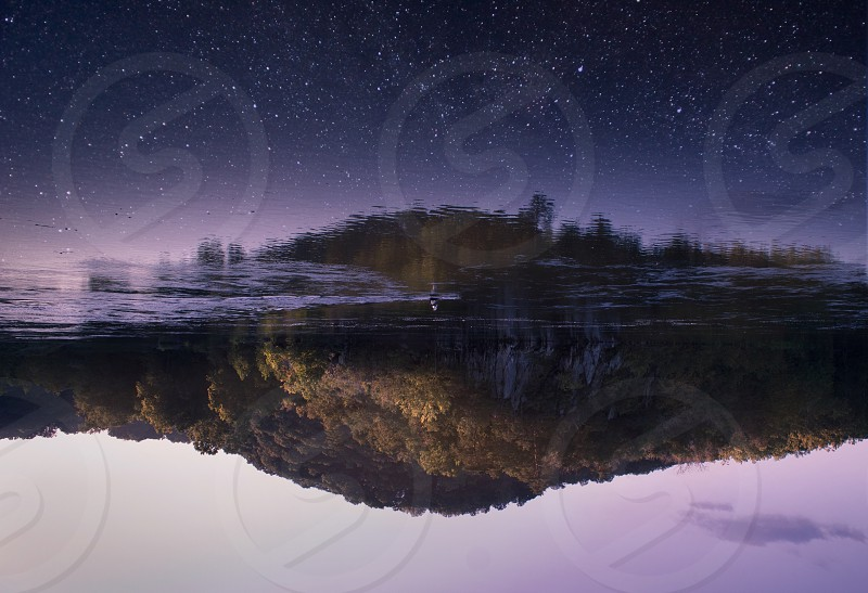 Space stars water canoe reflection art sunset purple nature photo