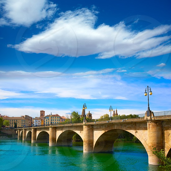 The Way of Saint James in Logrono bridge Ebro river at Spain photo