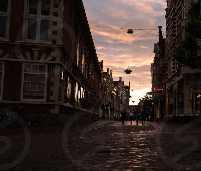4 friends wander on the empty streets of Haarlem in full sunset photo