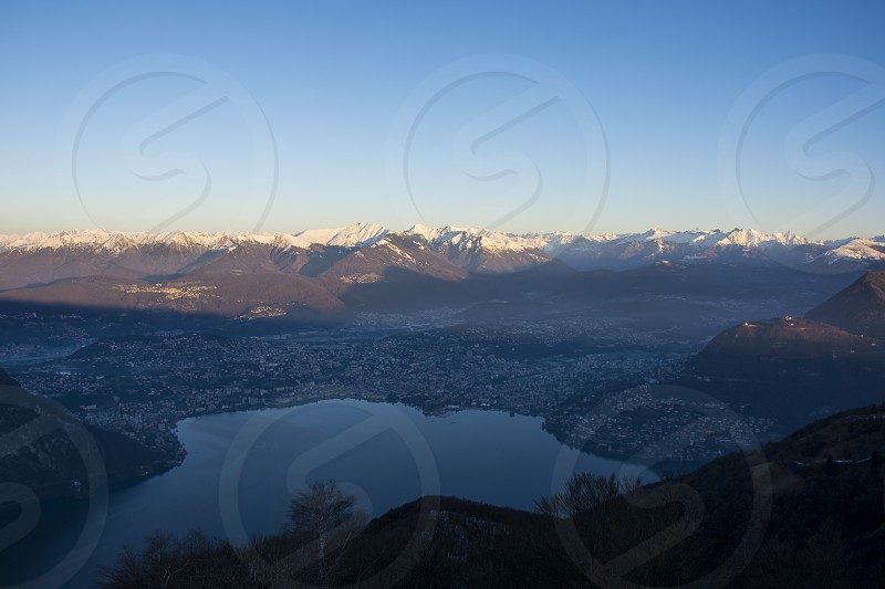from Sighignola (Italy) view of Lugano Melide (Switzerland) photo