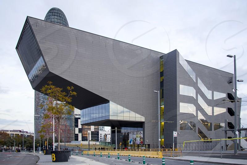Modern design of the building exterior. Barcelona Museo de diseño photo