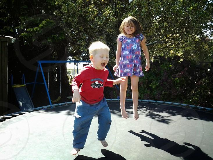fun on trampoline photo