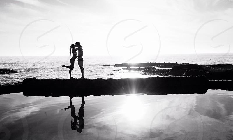Laguna reflections B&W cute couple photo