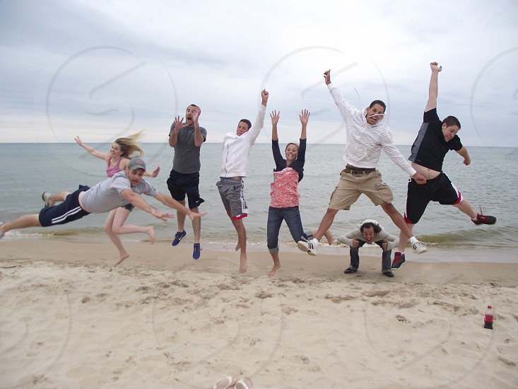 Jump. People.  photo