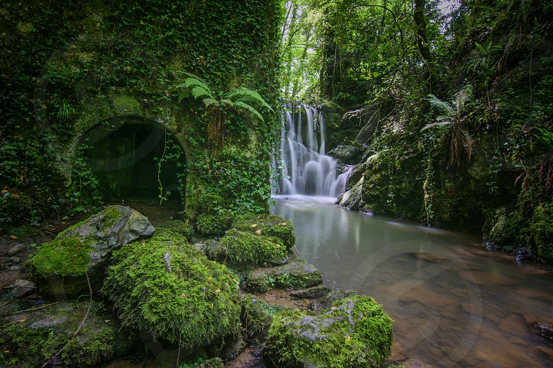 time lapse photo of water falls and concrete structure covered in leaves photo