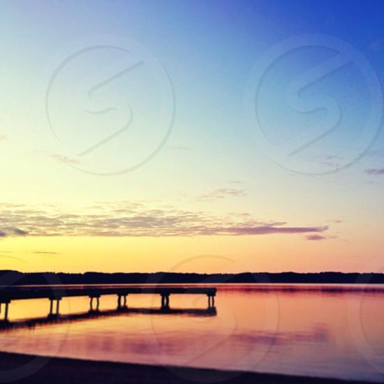 lake over sunrise view photo