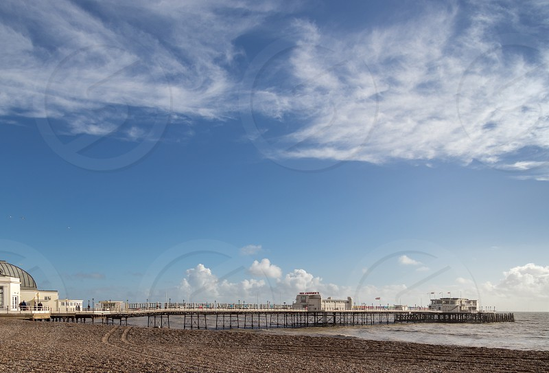 WORTHING WEST SUSSEX/UK - NOVEMBER 13 : View of Worthing Pier in West Sussex on November 13 2018. Unidentified people photo
