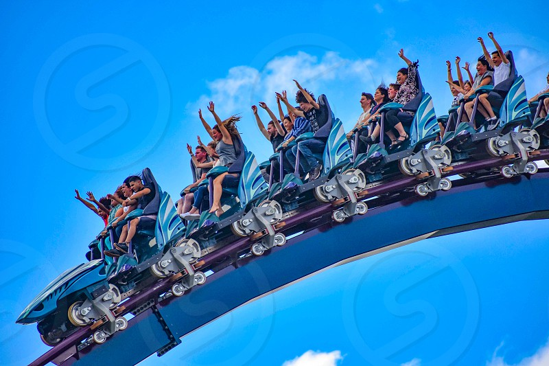 Orlando Florida. December 26 2018. People having fun extreme roller coaster ride. at Seaworld in International Drive area  (1) photo
