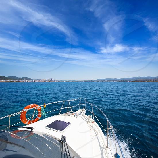 Ibiza San Antonio Abad Sant Antonio de Portmany view from boat at Balearic photo