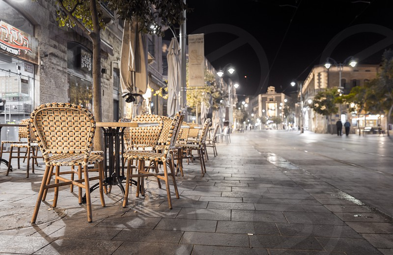 Midnight on Jaffa Street Jerusalem. photo